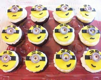 12 Fondant Minion Cupcake Toppers