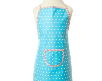 Turquoise kids apron, washable apron