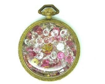 Swarovski Crystal Vintage Pocket watch Pendant
