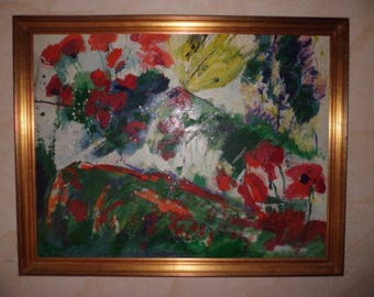 Rare oil painting of Olivier BERNEX 1983