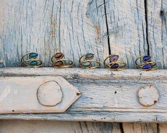 Ring Brass Stones Double Drops / Bague double goutte en laiton et pierres
