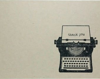 Thank You Cards, Set of 6 Cards, Vintage Retro Typewriter Cards, Hand Stamped Cards, Blank Note Cards