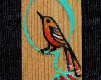 Flora & Fauna bookmark, Birds, wood bookmark, handmade, bookmark