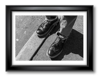 Classic shoes on the sidewalk - signed print