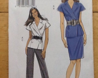 V8564 Vogue, Very Easy Vogue, sewing pattern for ladies pencil skirt, trousers and wrap waistcoat
