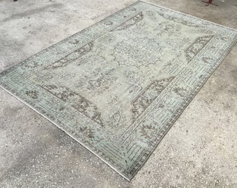 6'3x10'3 , ice blue rug,RUG ,floor rug,distressed rug,overdyed rug,bohemian rug, Muted blue rug,turkish overdyed rug,oushak carpet, 5262