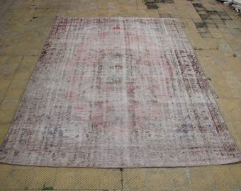Oushak BOHEMIAN DISTRESSED RED Rug , Turkish Faded Big Size Vintage Area Rug , 7'6 x 11 feet