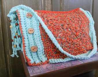 Handbag a unique weaving and knitting wool cotton turquoise and orange color.