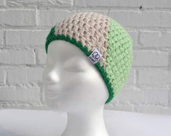 Handmade Wool Hat-trendy hat with different green and shades of gray