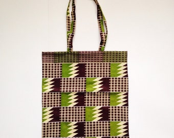 Lovely Kente Cotton Shopper Tote Bag- Long Handle