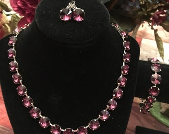 12mm Swarovski Crystal Jewelry Set in Amethyst