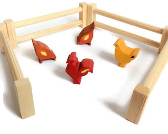 Farm hens wooden toy set in enclosure - Waldorf animal figures - natural eco toys