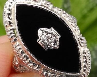 Antique Onyx Diamond Filigree Ring –Solid 14K White Gold Onyx & Diamond Filigree Ring –10009