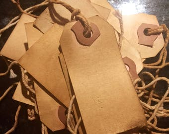 Primitive brown coffee tea stained hang tags (12)