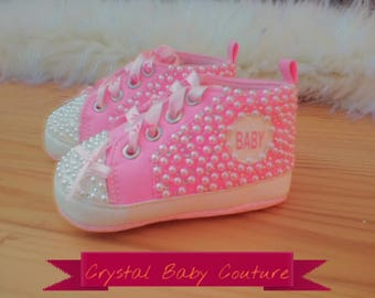 STUNNING crystal and pearls baby shoes