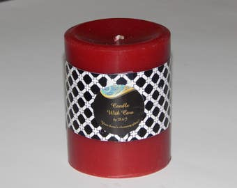 """Scented Candle, Red Scented Pillar Candle - 4"""" in height Rose Garden Scent"""