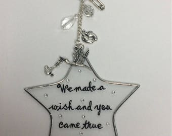 We made a wish and you came true - glass star window/mirror decoration