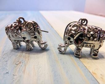 Tiny earrings/ elephant earrings/ silver earrings/ dangle earrings/ drop earrings/ lightwieght earrings/ statement earrings/baby elephants