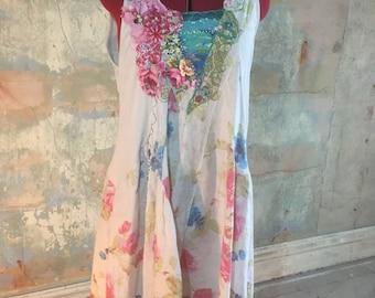 Floral,Embellished, upcycled linen dress, size 12/14