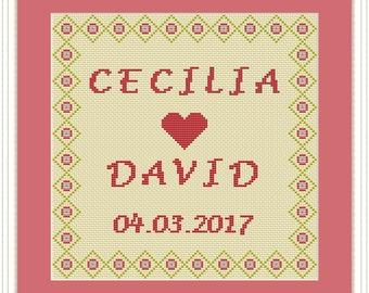 Wedding Gift Cross Stitch Pattern PDF