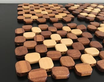 Vintage Wooden Trivet, Beaded Trivet , Pot Stand, Place Mat, Heat Protector, Natural Wood, Retro Kitchen, Home Decor, Wood Beads, Pot Holder