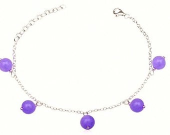 Love happiness meditation energy tranquility healing stones bracelet Jade sterling silver and lilac natural gems semi precious stones