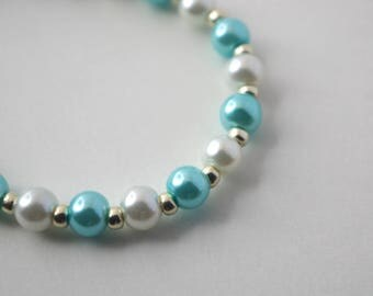 Blue and White Pearl Baby Bracelet
