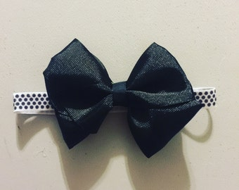 0-3 month black bow head band