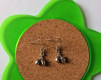 Handmade silver acorn dangle earrings