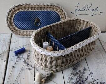 The Sewing casket ′In a pea′ - vintage casket - wicker box - wicker sewing basket