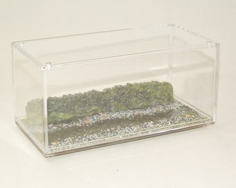 Display Case Diorama for 1:43 Model Cars Rough Terrain with Stream Finish and Wall