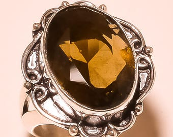 Beautiful Elegant Smoky Topaz  Gemstone 925 Silver Overlay Rings party wear Ring, Statement Ring, gemstone Ring 8 US Size