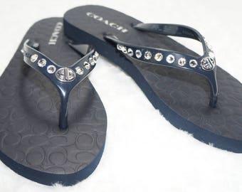 Navy Coach Flip Flops with Swarovski Crystals