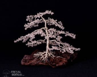 Pink Faceted Crystal Bead Wire Tree Sculpture On Wood Base