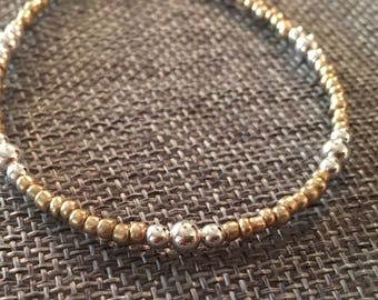 Two Tone Bracelet Sterling Silver Beads with Gold Glass Seed Beads