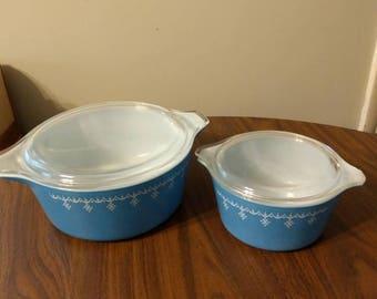 Vintage Pyrex Blue Snowflake Garland Casserole Bowls