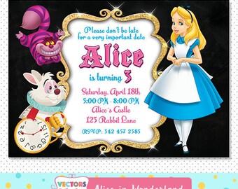 Alice in Wonderland Invitation, Alice in Wonderland Party, Alice in Wonderland Invite, Alice in Wonderland Birthday