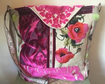 Vintage tapestry Messenger/cross body bag. Vintage tapestry, velvet, chenille bag