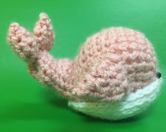 Crochet pink stuffed whale