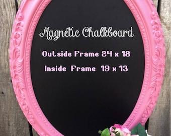 Vintage Pink Ornate Framed Magnetic Chalkboard.. Wedding Chalkboard.. Chalkboard..