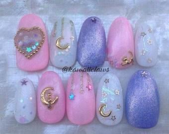 Pink & Purple Pastel Kawaii Kitty Cat Moon Stars Glitter Gel Nail Art Press on false fake nails