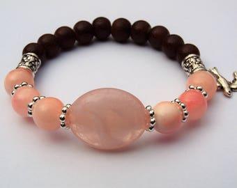 Blush Pink Stretch Bracelet, Blush Pink, Fashion Jewelry, Stone Stretch Bracelet, Mothers Day