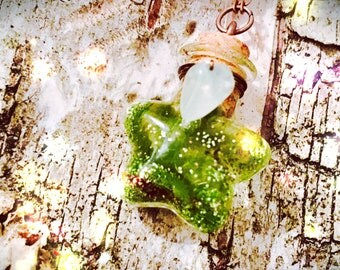 """Vial amulet """"good luck and prosperity"""" aventurine and fluorite"""