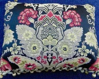 Handmade 'Designer' Decorative Pillow - Floral Tapestry on Black, Red Jacquard Back & Ball Fringe