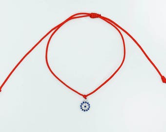 925 sterling silver red string bracelet with evil eye for protection and good luck