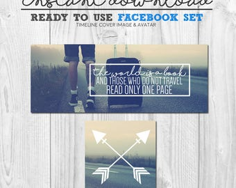 ready to use facebook timeline cover image set, travel quote facebook timeline, instant download premade social media graphics, pre-made fb