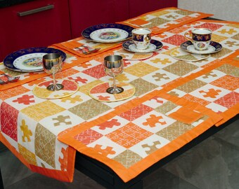 Linen set: table placemats, table path, envelops, stand under a hot/table set