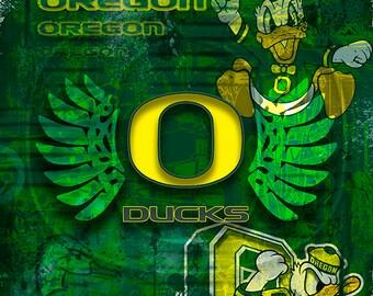 Oregon Ducks Poster, Oregon Ducks Gift, Ducks Man Cave, University of Oregon Print