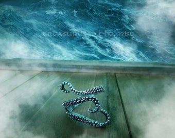 Octopus Ring, Tentacle Ring, Adjustable, Tentacle, Cthulhu, Kraken, Steampunk, Sea, Pirates, Viking, Nautical, Gothic, Punk, Cool, Fun