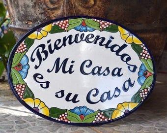 Talavera Welcome Wall Plaque Spanish Version Handpainted Handmade Home Decor Mexican Talavera Ceramic Tile